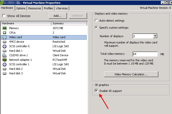 Enable 3D support on a VM