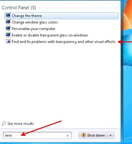 Enable Aero in Windows 7