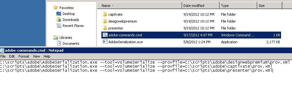 Adobe licensing commands