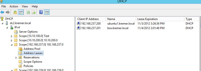 DHCP leases on DC2 after reconnected