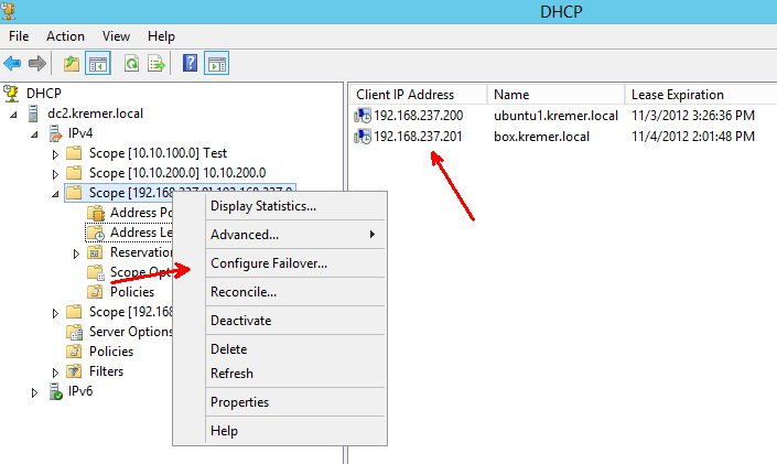 Configuring failover on a DHCP scope