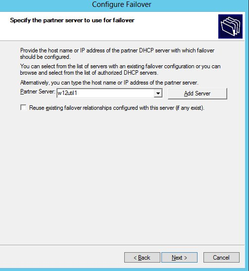 Specifying a failover partner in the failover wizard