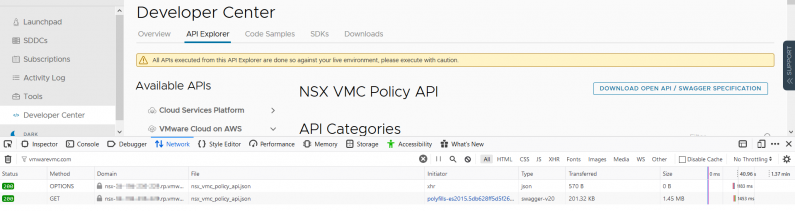 Troubleshooting the VMC on AWS API using Firefox
