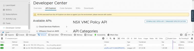 Troubleshooting the VMC on AWS API using Firefox